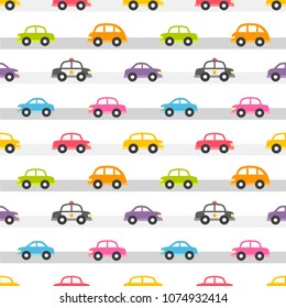 Seamless pattern with colorful cars on the road