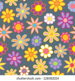 A seamless pattern of colorful cartoon flowers on a gray spring rainy contrasting background.