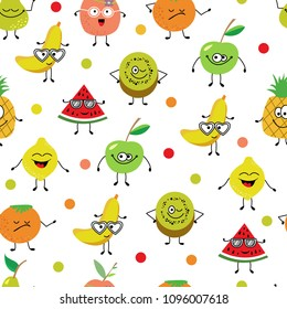 seamless pattern of a colorful cartoon  fruits