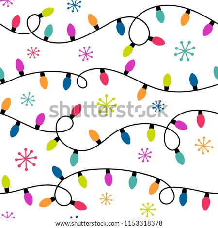 Seamless pattern of colorful christmas light bulbs and snowflakes. - Seamless Pattern Colorful Christmas Light Bulbs Stock Vector
