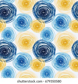 Seamless pattern with colorful circles, abstract tiled ornament, van gogh artistic style,  vector illustration