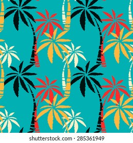 Seamless pattern with colorful coconut palm trees. Summer print, repeating background texture