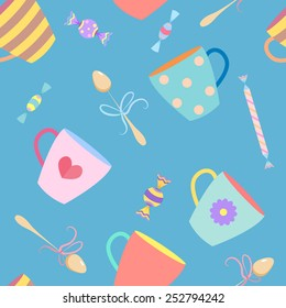 Seamless pattern with a colorful cups. Vector illustration