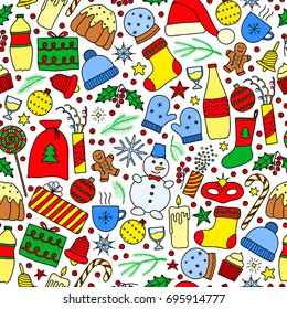Seamless pattern with colorful doodle Christmas and New Year items.