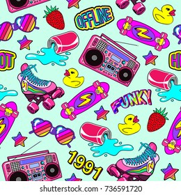 Seamless pattern with colorful elements: skateboard, sunglasses, boombox, rubber duck, vintage roller skates, soda can, etc. Green background with patches, badges, pins, stickers in 80s comic style.