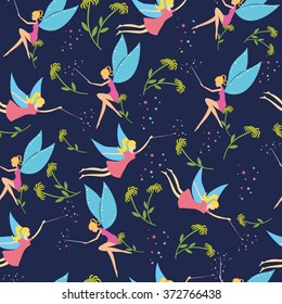 Seamless pattern with colorful fairy for kid. Children's background for girls. Pattern for girl, pattern with fairy. Baby pattern with cute fairy. Pattern with Fairy flying. Fairy with a magic wand.