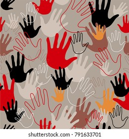 Seamless pattern with colorful family hand prints on white background. Vector illustration with Human hands in red, gray, black and orange colors.