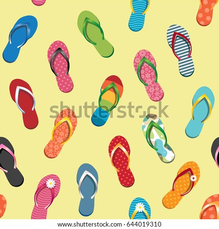 64273f72e85a Seamless Pattern with Colorful Flip Flops. Vector Illustration. Summer  Decorative Element - Wrapping Paper