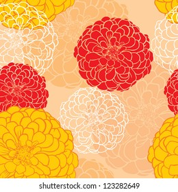 Seamless pattern of colorful flowers and contour zinnia