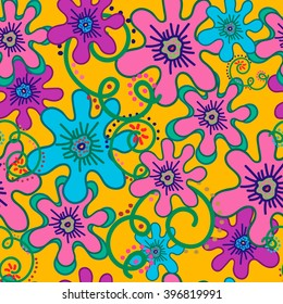 Seamless pattern colorful flowers and curls on yellow background. For printing on packaging, bags, cups, laptop, etc. Vector.