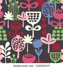 Seamless pattern with colorful flowers drawn in scandinavian retro style. Vector wallpaper of nature floral elements.
