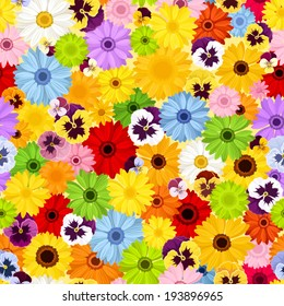 Seamless pattern with colorful flowers. Vector illustration.