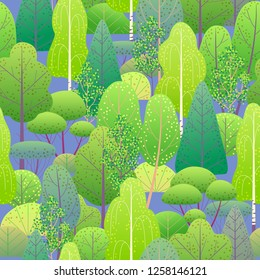 Seamless pattern with colorful forest trees and bushes on blue background. Endless texture with simple elements of plants.  Spring foliage vector flat illustration.