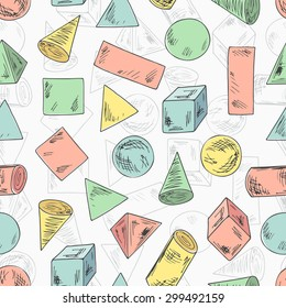 Seamless pattern of Colorful geometric shapes. Basic Geometric Shapes. Hand Drawn Doodles illustration