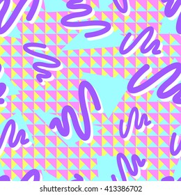 Seamless pattern colorful geometric shapes, purple swirls with a white shadow, blue triangles and geometric background triangles, Memphis style, 80s