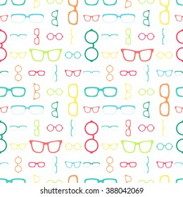 Seamless pattern with colorful glasses. Vector background with eyeglasses. The pattern could be used for textile, web-site background, web and print materials for sunglasses' stores or eye's clinics.