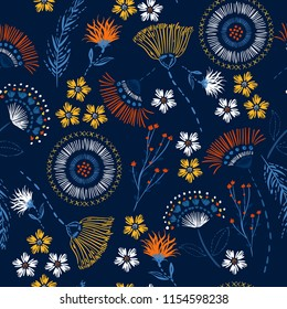 Seamless pattern Colorful hand drawing sketch garden flowers and line ,dash leaves in doodle style vector suits for fashion,fabric and all prints on navy blue background color