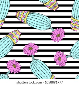 Seamless pattern with colorful hand drawn cactuses on striped background.