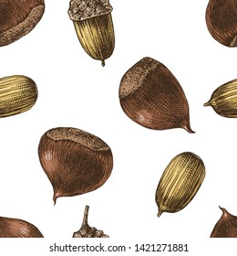 Seamless pattern with colorful hand drawn chestnuts and acorns. Vector illustration