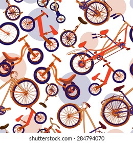 Seamless pattern with colorful hand drawn bicycles, tricycles, run bikes, mono bikes, tandem bikes on abstract background. Vector illustration