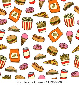 Seamless pattern with colorful hand drawn fast food meals.