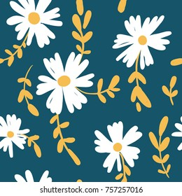 Seamless pattern with colorful hand drawn chamomile flowers. Modern and original textile, wrapping paper, wall art design. Vector illustration. Floral simple minimalistic graphic design