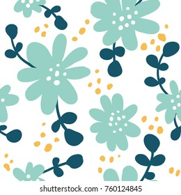 Seamless pattern with colorful hand drawn flowers. Modern and original textile, wrapping paper, wall art design. Vector illustration. Floral simple minimalistic graphic design