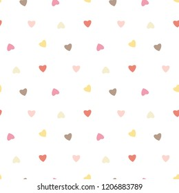 Seamless Pattern with Colorful Heart Design on White Background
