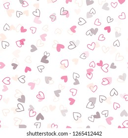 Seamless pattern with colorful hearts for Valentine's Day. Vector.