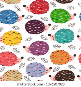 seamless pattern with colorful hedgehogs - vector illustration, eps