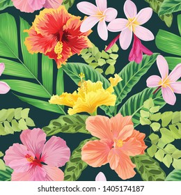Seamless pattern of colorful hibiscus flowers and tropical leaf background. Vector set of exotic tropical garden for holiday invitations, greeting card and fashion design.