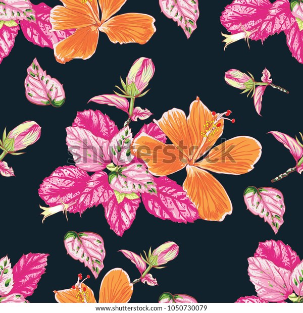 Seamless pattern Colorful Hibiscus flowers and leaves on isolated Dark 