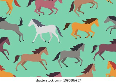 Seamless pattern with Colorful horses. flat style. isolated on green background
