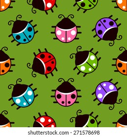 Seamless pattern with colorful ladybugs icons on green background
