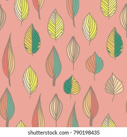 Seamless pattern with colorful leaves. summer seamless pattern, bright, bright, summer leaves. pink
