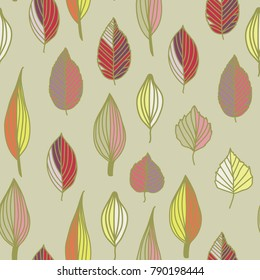 Seamless pattern with colorful leaves. summer seamless pattern, bright, bright, summer leaves. grey
