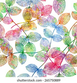 Seamless pattern with colorful leaves. Vector, EPS 10.