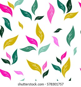 Seamless pattern of colorful leaves. For your design.