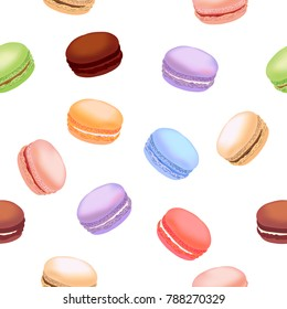Seamless pattern with colorful macaroon cookies. Vector illustration.