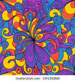 Seamless pattern with colorful magic mushrooms in doodle style. 60s hippie psychedelic art. Vector. Print for fabric