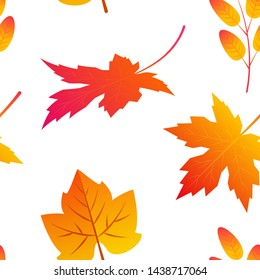 Seamless pattern with colorful maple leaves in flat style. Vector illustration on white background