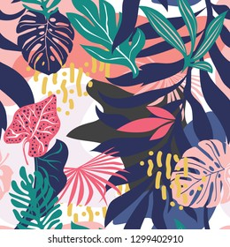 Seamless pattern with colorful Memphis style. Abstract pattern with leaves and flowers. Hawaii's exotic landscape is a tropical paradise. Designed for fabrics, textiles, wrapping paper.