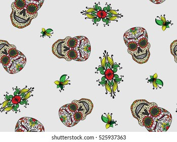 Colorful Mexican Sugar Skull Day Of Dead Icon