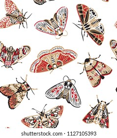 Seamless pattern with colorful moths in vintage style. Beautiful craft and red realistic butterflies. Vintage background. Wallpaper. Vector illustration
