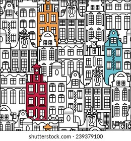 Seamless pattern with colorful multistage buildings in old European style. Vector illustration.
