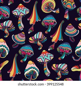 Seamless pattern with colorful mushrooms in doodle style. Vector illustration.
