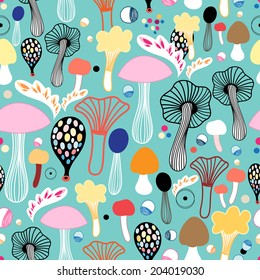 seamless pattern of colorful mushrooms on a green background