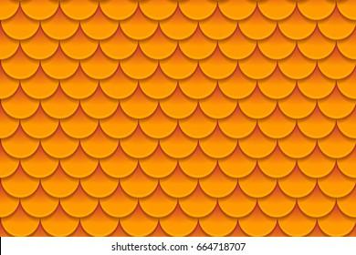 Seamless pattern of colorful orange fish scales. Fish scales, dragon skin, Japanese carp, dinosaur skin, pimples, reptile, snake skin, shingles. Vector illustration
