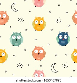 Seamless pattern Colorful owl Cute animal cartoon characters Design ideas used for printing, gift wrapping background, children's clothing, textile, vector illustrations