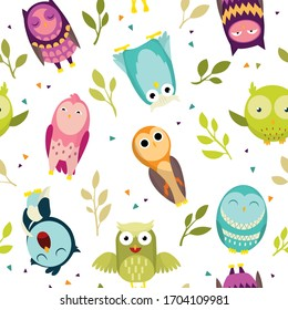 Seamless pattern with colorful owls. Cute funny forest bird. Decorative and style toy, doll. Happy and joyful bird in flat style. Isolated children cartoon illustration, for print